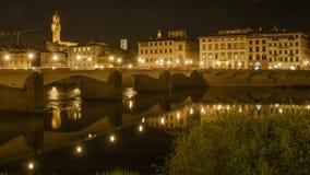 意大利佛罗伦萨日落和夜视图 库存照片
