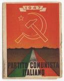 意大利共产党卡片, PCI,葡萄酒1947年,历史文件 免版税库存照片