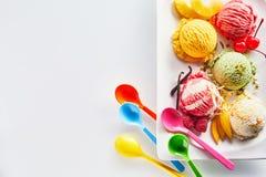 意大利冰淇凌瓢的分类 库存照片