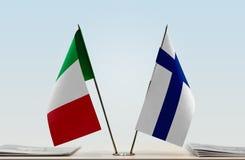 意大利和芬兰的旗子 库存图片