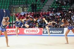 意大利国家节奏性体操队 库存照片