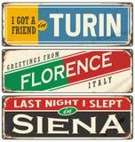 意大利城市和旅行目的地 向量例证
