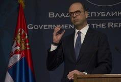 意大利外长Angelino阿尔法诺正式访问向塞尔维亚 免版税库存图片