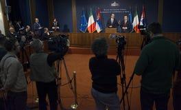 意大利外长Angelino阿尔法诺正式访问向塞尔维亚 图库摄影
