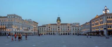 意大利广场,的里雅斯特,意大利团结  免版税库存图片