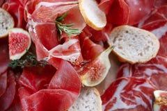 意大利开胃小菜和开胃菜 上与切片熏火腿,蒜味咸腊肠,干猪肉,蒜味咸腊肠火腿用草本 免版税库存图片