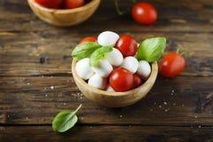 意大利开胃小菜用无盐干酪、蕃茄和蓬蒿 免版税库存照片