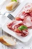 意大利开胃小菜用波隆纳熟香肠  免版税图库摄影