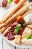 意大利开胃小菜的概念用乳酪和香肠 图库摄影