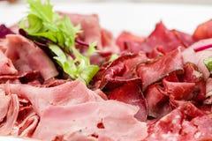 意大利开胃小菜盛肉盘冷的开胃小菜肉板材朝鲜蓟各式各样的蕃茄 免版税图库摄影