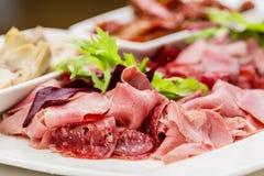 意大利开胃小菜盛肉盘冷的开胃小菜肉板材朝鲜蓟各式各样的蕃茄 免版税库存图片