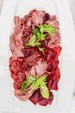 意大利开胃小菜盛肉盘冷的开胃小菜肉板材朝鲜蓟各式各样的蕃茄 免版税库存照片