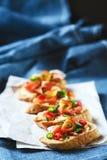 意大利开胃小菜食物bruschetta 图库摄影