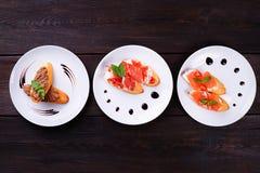 意大利开胃小菜bruschetta集合 库存图片