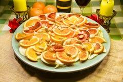 意大利开胃菜用桔子、茴香和杏仁在额外virgi 免版税库存照片