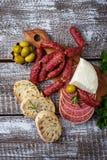 意大利开胃菜的选择 酒快餐集合 免版税库存照片