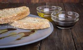 意大利开胃菜面包橄榄油 库存图片