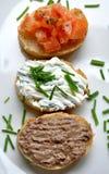 意大利开胃菜,在一个空白牌照的手抓食物 免版税库存照片