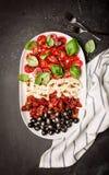 意大利开胃菜-无盐干酪、蕃茄、橄榄和蓬蒿 免版税库存照片