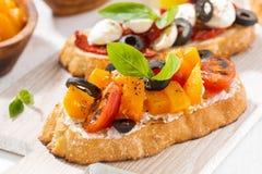 意大利开胃菜- bruschetta,特写镜头 免版税图库摄影