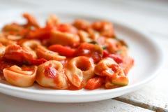 意大利式饺子在marinara调味汁的primavera巴马干酪在木土气 免版税库存照片