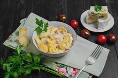 意大利式饺子用乳酪调味料 免版税库存照片