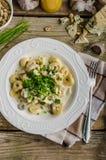 意大利式饺子用青纹干酪调味汁 免版税库存图片