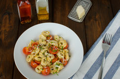 意大利式饺子用巴马干酪和蕃茄 库存照片