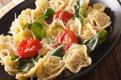 意大利意大利式饺子用菠菜、蕃茄和巴马干酪特写镜头 库存照片