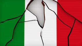 意大利意大利旗子崩裂了残破的危机3d翻译 皇族释放例证