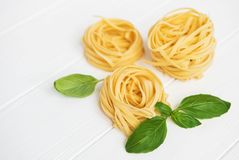 意大利意大利面食tagliatelle 免版税库存图片