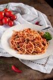 意大利意粉蕃茄金枪鱼和雀跃 免版税库存图片