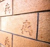 意大利教会墙壁砖在vergiate瓦雷泽的中心 图库摄影