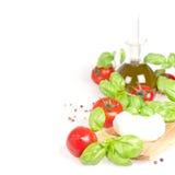 意大利无盐干酪和菜 库存图片