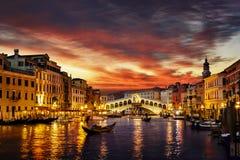意大利日落威尼斯 免版税库存图片
