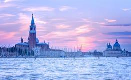 意大利日落威尼斯 免版税库存照片