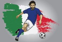 意大利有旗子的足球运动员作为背景 免版税库存照片