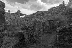 意大利波纳佩 02,01,2018 古老罗马废墟的家, 免版税库存图片