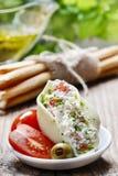 意大利烹调:被充塞的面团壳和堆面包棒。 库存图片