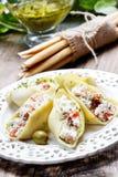 意大利烹调:被充塞的面团壳 免版税库存照片