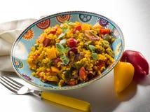 意大利煨饭用番红花和辣椒的果实 图库摄影