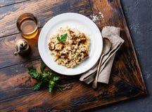 意大利煨饭用porcini蘑菇 库存图片