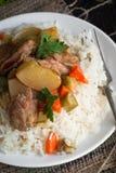 意大利煨饭肉和菜 库存图片