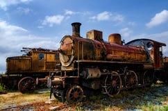 意大利生锈的蒸汽机车 库存图片
