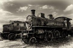 意大利生锈的蒸汽机车 免版税库存照片
