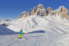 意大利白云岩的Sassolungo Langkofel小组的看法从Val di法萨Ski地区的,特伦托自治省女低音阿迪杰地区, Ital 免版税库存照片