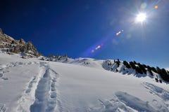 阿尔卑斯白云岩太阳和雪 库存图片