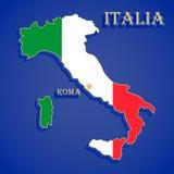 意大利的地图旗子 免版税库存照片