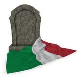 意大利的墓碑和旗子 库存照片