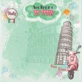 意大利的背景您的文本的与罗马斗兽场、斜塔和桃红色脚踏车的图象 皇族释放例证